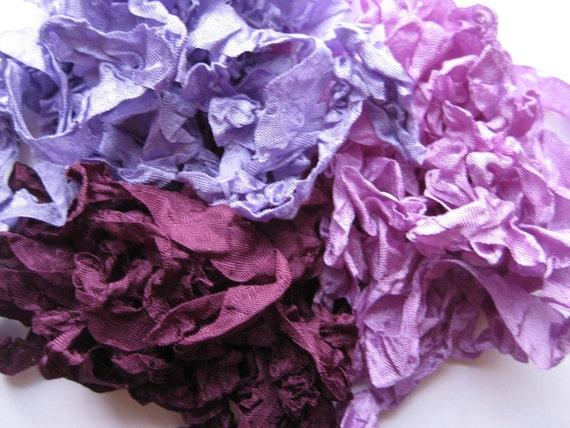 Sweet Grape - Lavender - Purple Crinkled Seam Binding Rayon Ribbon 15 yards noE1375 SALE