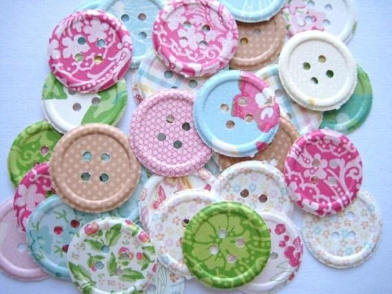 100 Embossed Spring Fling Buttons punch die cut embellishments  noE1381