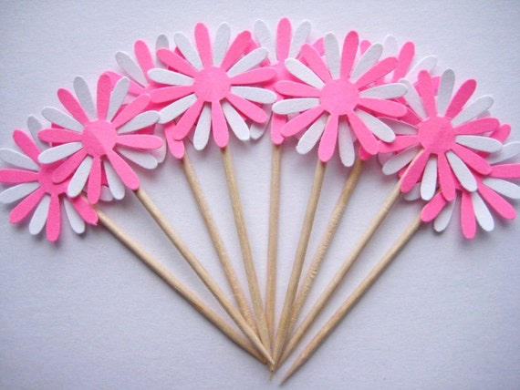 24 Hot Pink White Daisy Party Picks - Cupcake Toppers - Toothpicks - Food Picks FP231