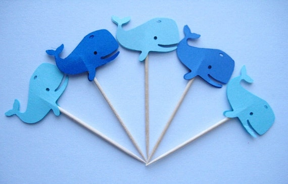12 Mixed Blue Whales Party Picks - Cupcake Toppers - Toothpicks - Food Picks - die cut punch FP248