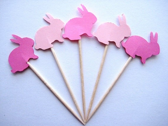 24 Mixed Pink Bunny Party Picks - Cupcake Toppers - Toothpicks - Food Picks  FP256
