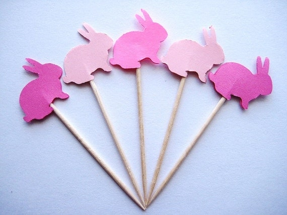 24  Mixed Pink Bunny Party Picks - Cupcake Toppers - Toothpicks - Food Picks - die cut punch FP256