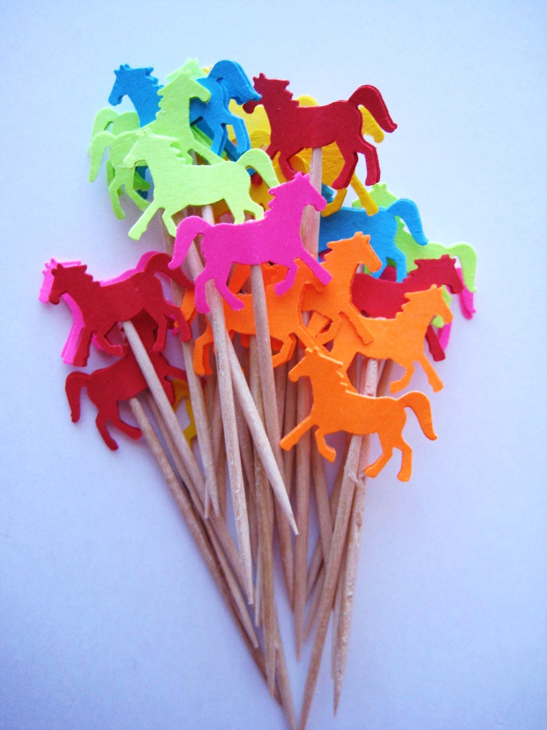 24 Bright Horse Party Picks Cupcake Toppers Toothpicks