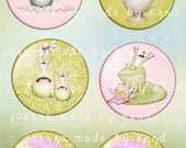 Frogs - circles - digital collage sheet 1 x 1 inch -Printable Download