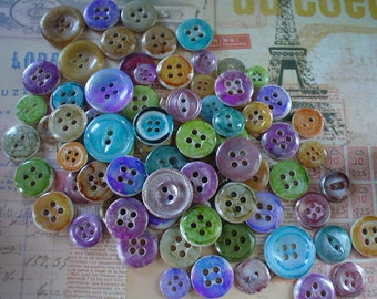 Alcohol Inked Hand Dyed Buttons Plastic and Mother of Pearl Buttons Lot of 25 Great for Cards Scrapbooking Colors