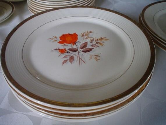 Reserved for Kevin Vintage Limoges Vermillion Rose Orange Triumph Series 1930s Dinner Plates cups saucers