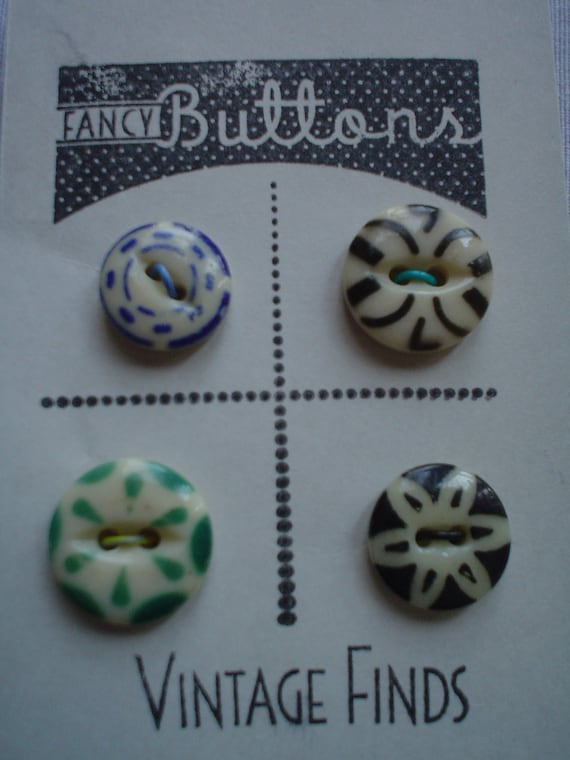China Stencil Buttons 4 total Green, Black & Blue Vintage from 1920s or earlier