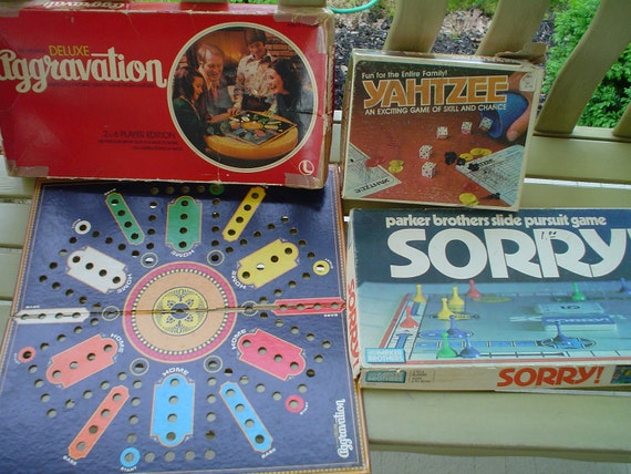 Vintage Game Boxes Set of 3- 70s and 80s Sorry Aggravation and Yahtzee SALE LESS THAN 5