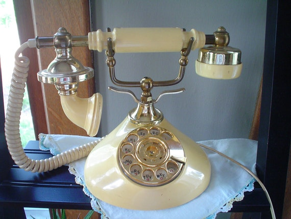 Vintage Princess Phone Yellow Ivory Rotary Telephone Jack Included Circa 70s SALE less than 35