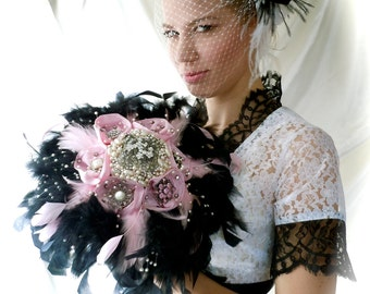 Brooch Bouquet - Broach Bouquet - Feather & Brooches Bouquet - Pink Broach Bouquet - Bridal Broaches