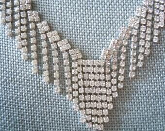 Rhinestone Necklace - Vintage Rhinestones - Vintage Necklace -  23 inche long Necklace