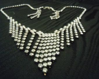 Vintage Rhinestone Necklace - Necklace Earrings Set - Rhinestone Necklace - Wedding Jewelry
