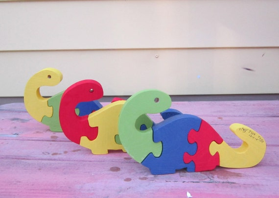 wood puzzle dinosaur