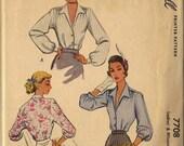 1949 Unused McCall Printed Pattern 7708 Women's Blouses Sz. 18