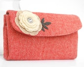 Red White Herringbone Tweed Wallet with Cream Felt Applique Flower. Large Folding Wool Coin Purse with diamond look jewel