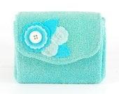 Mint Wool Wallet with Aqua Felt Applique Flower Posy. Hand Dyed Folding Coin Purse with Button Leaf detail. Aqua Wallet Mint Purse Tweed