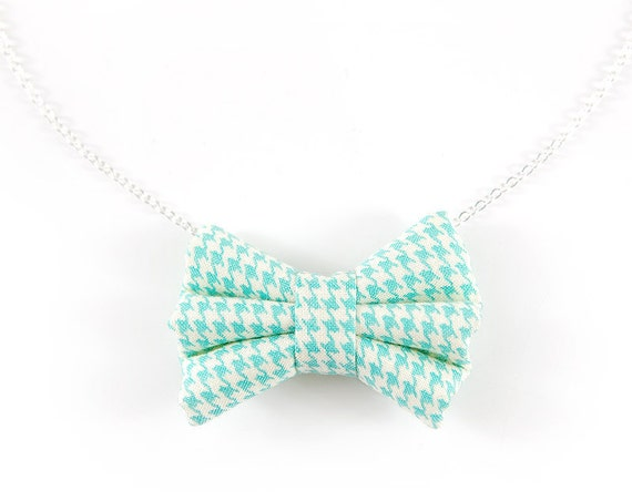 Teeny Fabric Bow Necklace. Aqua Mint Bow Pendant. Houndstooth Check Pale Turquoise Teal Silver Plated Sea Foam