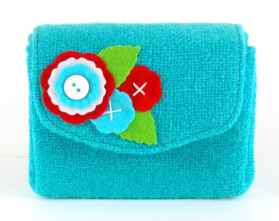 Turquoise Wool Wallet with Felt Applique Flower Posy. Hand Dyed Folding Coin Purse with Button Leaf detail. Teal Wallet Blue Tweed