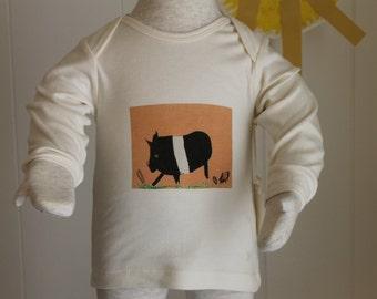 Shanie and Sallie Organic Cotton Tee's Around the BarnYard Series PIG PRINT LS