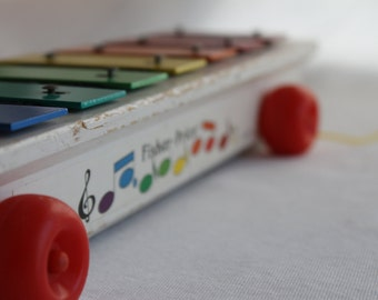Vintage Fisher Price Pull Along Xylophone 1978