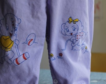 Vintage Lavender Infant Overalls with Adorable characters, Snap legs