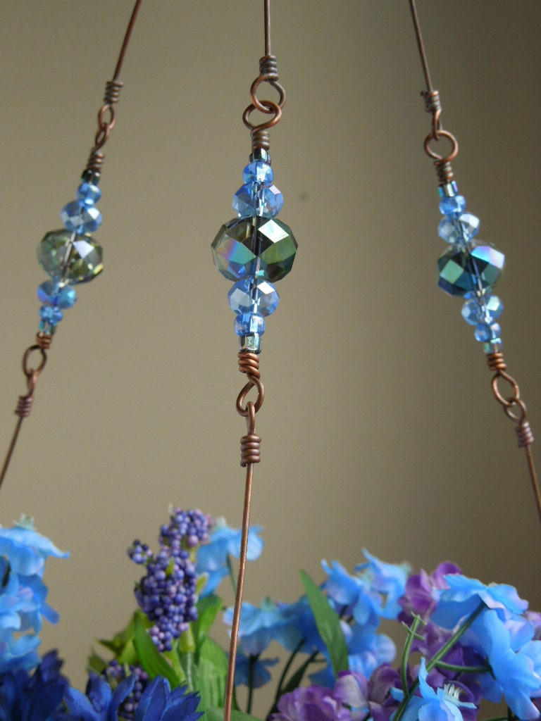 stardust copper wire plant hanger with glass beads by