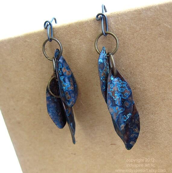 Blue Copper Earrings: Water Leaf Design.