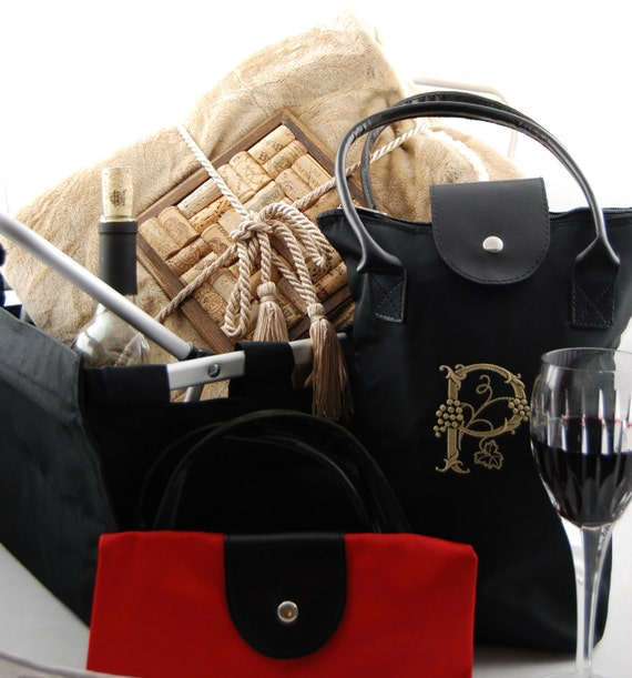 Private Listing  5 Personalized Embroidered Wine Totes
