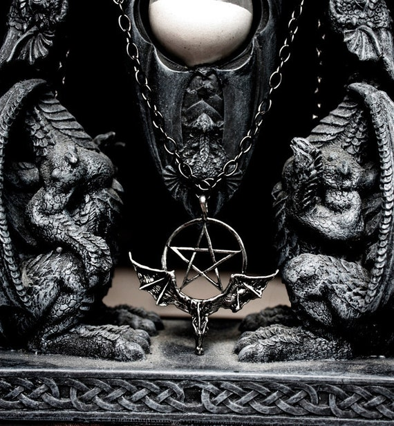 Gothic Bat Pentagram Pendant Necklace Baphomet Black Metal