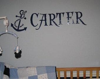 Custom Anchor Name Nautical Pirate Kid Wall Decor Decal