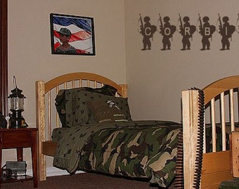 Custom Name Boys Army Military Room Decor Wall Quote Decal