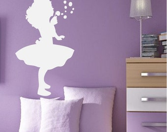 Girl Blowing Bubbles Cute Silhouette Wall Quote Decor Decal