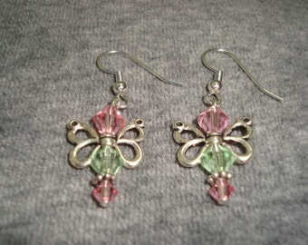 Butterfly Earrings Rose and Green