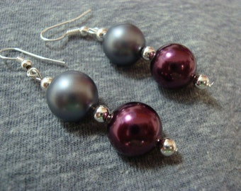 Maroon and Gray Pearl  Earrings