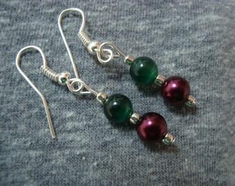 Garnet and Emerald  Earrings