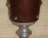 Statesmetal Goblet with Embossed Leather Celtic Birds Design