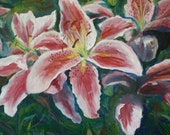 Oil Painting Flowers - Tiger Lily - Garden Landscape - Original Oil - Lily Painting - Home Decor - Fine Art - Wall art
