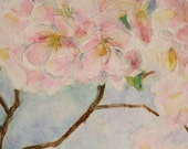 Watercolor Painting Tree - Flowering Dogwood Painting