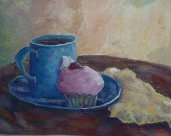 Original Painting - Cupcake coffee tea mug - Oil Painting - kitchen art - Blue Pink - fine art home decor - impressionist - wall art