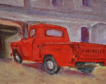 Truck Painting of Vintage Red Chevy - Original Oil - Painting of Old red truck - fine art home office decor wall art -  gift for men