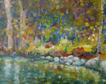 Oil Painting Abstract Water - Reflected water most rain painting- fine art home decor wall art - impressionist Abstract modern art