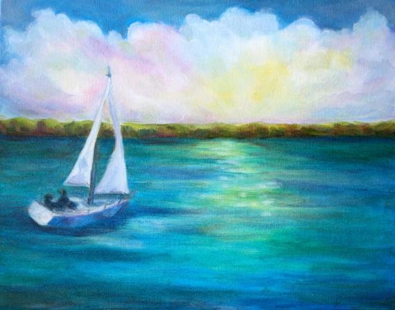 Sailboat painting - Seascape sunset - Original Oil Boat - Art Nautical - boat painting - Lake sunset - fine art home decor wall art
