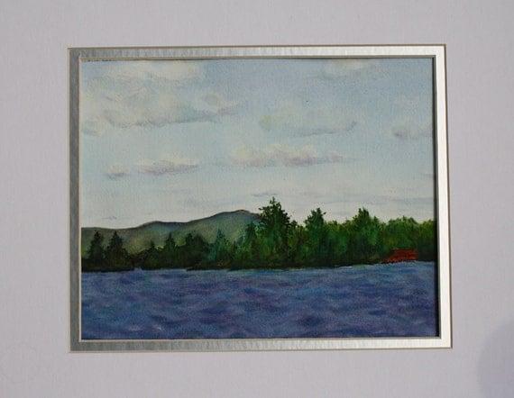 Lake Painting Watercolor Seascape Landscape Original mountains New England - Nautical Cabin Painting - Lake Fine Art Home Decor beach art