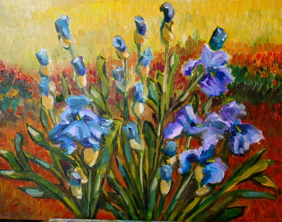 Oil Painting Purple Irises