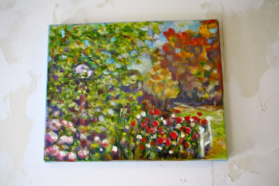 Landscape Painting Garden Birdhouse
