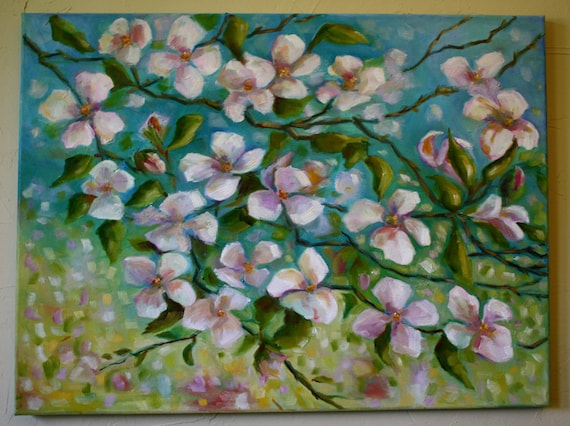 Abstract Oil Painting Tree In Spring Dogwood