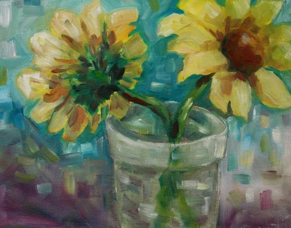 Original Oil Painting Flowers - Sunflower Painting Still Life