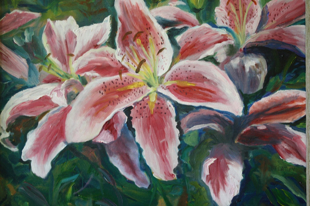 Oil Painting Flowers Tiger Lily Garden Landscape