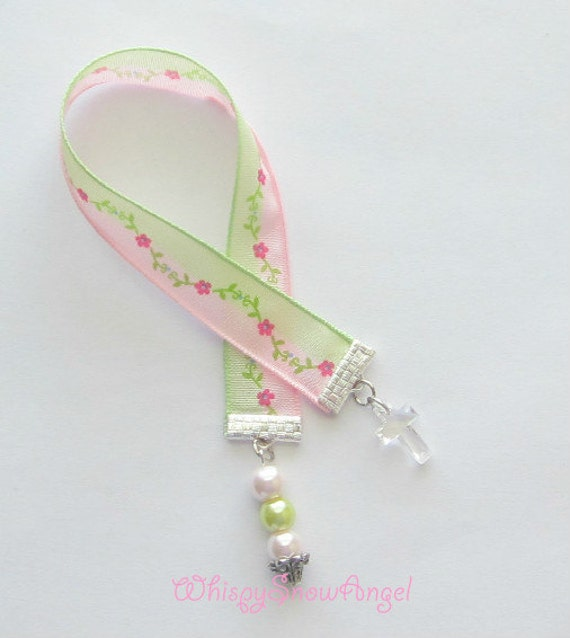 Pink and Green Flower Ribbon Bookmark With Cross Made For Paperback Books