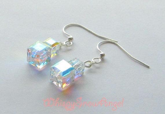 Swarovski Cube Earrings Clear AB